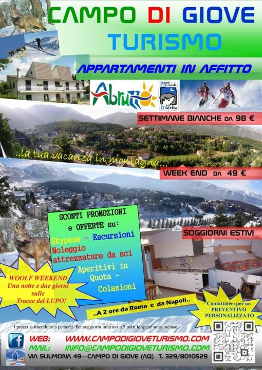 volantino campo di giove turismo appartamenti in affitto